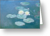 Aquatic Flower Greeting Cards - Waterlilies Evening Greeting Card by Claude Monet