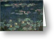 `les Greeting Cards - Waterlilies Green Reflections Greeting Card by Claude Monet