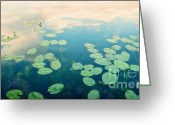 Waterlilies Greeting Cards - Waterlilies Home Greeting Card by Priska Wettstein