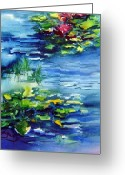 Waterlilies Greeting Cards - Waterlilies Greeting Card by Joanne Smoley