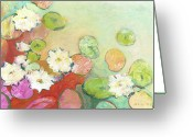 Pond Painting Greeting Cards - Waterlillies at Dusk No 2 Greeting Card by Jennifer Lommers