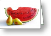 Watermelon Greeting Cards - Watermelon and Pears Greeting Card by Carlos Caetano
