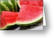 Watermelon Seed Greeting Cards - Watermelon In Summertime Greeting Card by Andee Photography