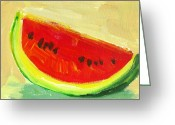 Watermelon Painting Greeting Cards - Watermelon Greeting Card by Patricia Awapara