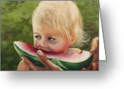Food Pastels Greeting Cards - Watermelon Greeting Card by Sharon Allen