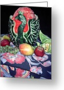Melon Greeting Cards - Watermelon Swan Greeting Card by Sally Weigand