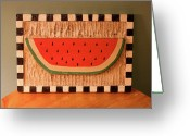 Woodcarving Reliefs Greeting Cards - Watermelon with Black Checkerboard Greeting Card by James Neill