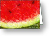 Tropical Fruits Greeting Cards - Watermelon With Three Seeds Greeting Card by Wingsdomain Art and Photography