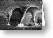 Supercell Greeting Cards - Waterspouts, 1869 Greeting Card by Science Source
