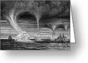 Supercell Greeting Cards - Waterspouts, 1873 Greeting Card by Science Source