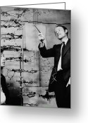 Dna Greeting Cards - Watson and Crick Greeting Card by A Barrington Brown and Photo Researchers