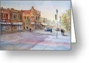 Architecture Painting Greeting Cards - Waupaca - Main Street Greeting Card by Ryan Radke