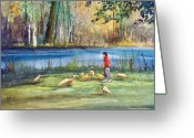 Pond Painting Greeting Cards - Wautoma Mill Pond Greeting Card by Ryan Radke
