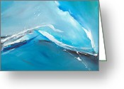 Blue Green Water Greeting Cards - Wave Action Greeting Card by Michelle Wiarda