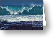 Island Photos Greeting Cards - Wave Breaking on Lava Rock 2 Greeting Card by Bette Phelan