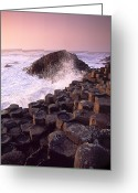 Hexagons Greeting Cards - Wave Crashing Against Rocks Greeting Card by Chris Hill