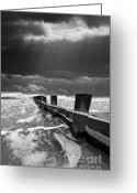 Storm Greeting Cards - Wave Defenses Greeting Card by Meirion Matthias