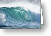 Splashing Greeting Cards - Wave In Pristine Ocean Greeting Card by John White Photos