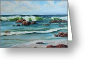 Cal Kimola Greeting Cards - Wave Party Greeting Card by Cal Kimola
