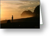 Surf Silhouette Greeting Cards - Wave Watchers at Sunset Greeting Card by Michelle Wiarda