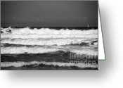 Sea Scape  Greeting Cards - Waves 1 in BW Greeting Card by Susanne Van Hulst