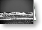 Sea Scape  Greeting Cards - Waves 2 in BW Greeting Card by Susanne Van Hulst