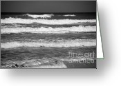 Sea Scape  Greeting Cards - Waves 3 in BW Greeting Card by Susanne Van Hulst