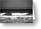 Sea Scape  Greeting Cards - Waves 4 in BW Greeting Card by Susanne Van Hulst