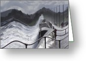 Spume Greeting Cards - Waves Greeting Card by Christopher Rowlands