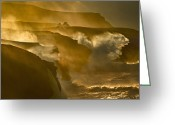 Surf Silhouette Greeting Cards - Waves Crashing On Rocky Cliffs Greeting Card by George Karbus Photography