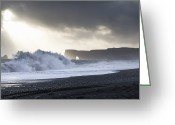 Surf Silhouette Greeting Cards - Waves Crashing On Sandy Beach Greeting Card by Elli Thor Magnusson