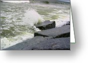 Waves Pyrography Greeting Cards - Waves Hitting Rocks 3 Greeting Card by Robert Morin