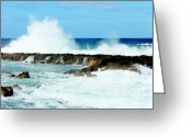 Crashing Waves Greeting Cards - Waves of Overflow Greeting Card by Karen Wiles