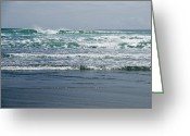 Oceans And Seas Greeting Cards - Waves Rolling On Black Beach In New Greeting Card by Todd Gipstein