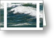 Liquid Greeting Cards - Waves Triptych ll Greeting Card by Michelle Calkins