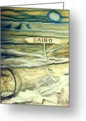 Handlebar Mixed Media Greeting Cards - Way to Cairo Greeting Card by Eva-Maria DiBella