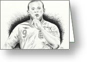 Drawing Pyrography Greeting Cards - WAYNE ROONEY with ENGGLAND Greeting Card by Yudiono Putranto