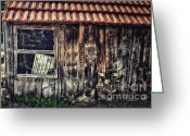 Shed Greeting Cards - Wayside Greeting Card by Jutta Maria Pusl