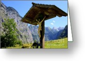 Alpine Panorama Greeting Cards - Wayside Greeting Card by Nailia Schwarz