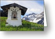 Snowy Range Greeting Cards - Wayside Shrine in the mountains Greeting Card by Matthias Hauser