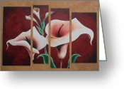 Product Painting Greeting Cards - WBA125 Burgundy BG Cala Lily Greeting Card by Wayne Bobzin