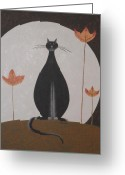 Product Painting Greeting Cards - WBA128 Black Moon Cat Greeting Card by Wayne Bobzin