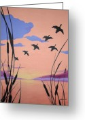 Product Painting Greeting Cards - WBA130 Ducks in Flight Greeting Card by Wayne Bobzin