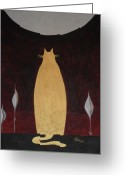 Product Painting Greeting Cards - WBA134 Gold Moon Cat Greeting Card by Wayne Bobzin