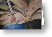 Product Painting Greeting Cards - WBA137 Lady of The Lake Greeting Card by Wayne Bobzin