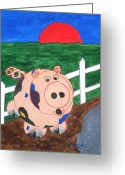 Product Painting Greeting Cards - WBA141 Piglet Greeting Card by Wayne Bobzin