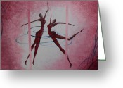 Product Painting Greeting Cards - WBA143 Raspberry Swirl Dancers Greeting Card by Wayne Bobzin