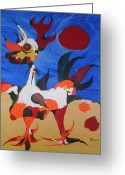Product Painting Greeting Cards - WBA144 Rooster 16x20x.75 Greeting Card by Wayne Bobzin