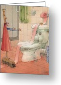 Featured Drawings Greeting Cards - WC Story Greeting Card by Kestutis Kasparavicius