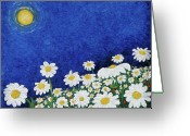 Impressionist Digital Art Greeting Cards - We Are Daisies Greeting Card by Laura Brightwood